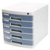 得力塑胶桌面文件柜 8855-灰 五层,带锁,3组/件