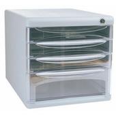 得力塑胶桌面文件柜 9794-灰 四层,带锁,6组/件