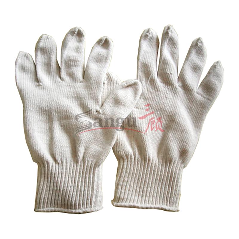 本白全面针织细纱棉线手套 1*10  500g  紧口 10双/扎