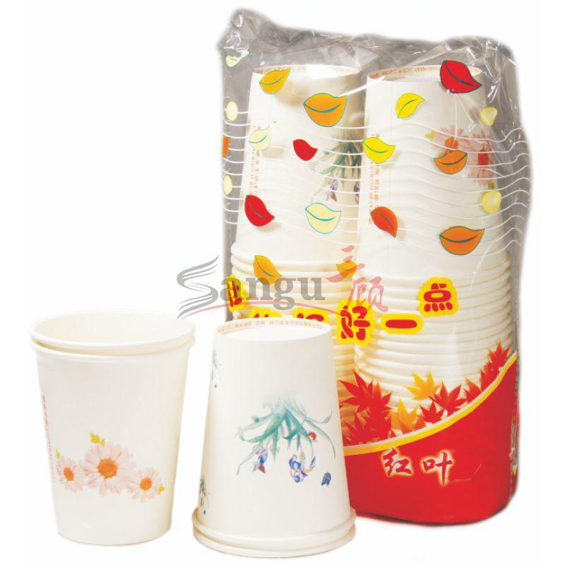 宝昌精装商场纸杯 红叶,250ml,50个/提,40提/件